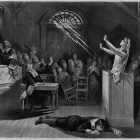 pencil drawing of the interior of a courtroom during the Salem Witch Trials