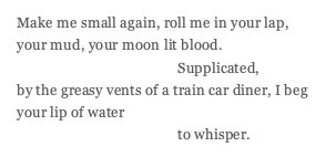 poem reads: Make me small again, roll me in your lap, your mud, your moon lit blood. Supplicated, by the greasy vents of a train car diner, I beg your lip of water to whisper.