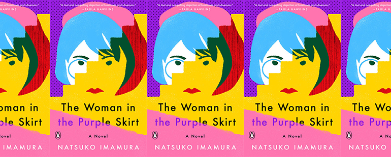 side by side series of the cover of The Woman in the Purple Skirt