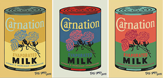 side by side Warhol-esque images of cans of Carnation condensed milk