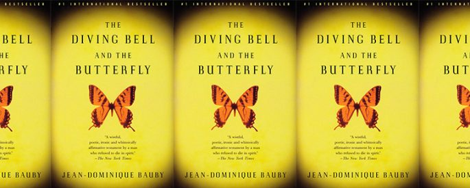 """side by side series of the cover of Bauby's memoir"""" The Diving Bell and the Butterfly"""