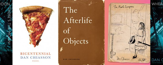 side by side series of the covers of the afterlife of objects, the math campers, where's the moon there's the moon, and bicentennial